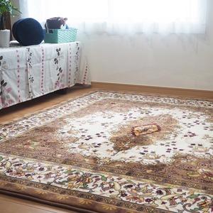 極厚エレガント デザインラグ ラグ マット/絨毯 【 約2畳 約185cm×185cm】  ホットカーペット 床暖房対応 『ダンテ』