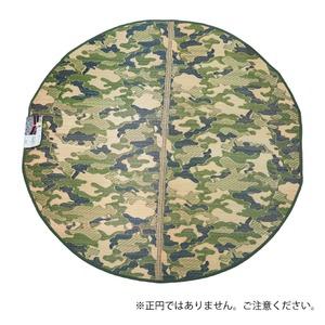 円形 迷彩 い草ラグ  ラグマット/絨毯 【グリーン  約1.6畳 約176cm×176cm円形】防カビ加工 『男前ラグ』 - 拡大画像