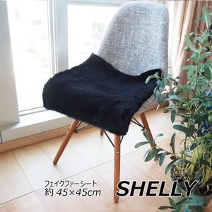フェイクファー ミンクタッチ マット/座布団 【約45×45cm スクエア ブラック】 フェイクファー 高密度『SHELLY』 - 拡大画像