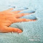 フェイクファー ミンクタッチラグ ラグマット/絨毯 【約190×190cm 正方形 ブルー】 ラグ 高密度『SHELLY』