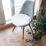 フェイクファー ミンクタッチ マット/座布団 【2枚セット】 約45cm円形 ラウンド ホワイト フェイクファー 高密度『SHELLY』
