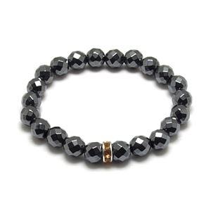 カットヘマタイト×イエローキュービックジルコニア・数珠ブレスレット ZZBJ-0025cheycz - 拡大画像