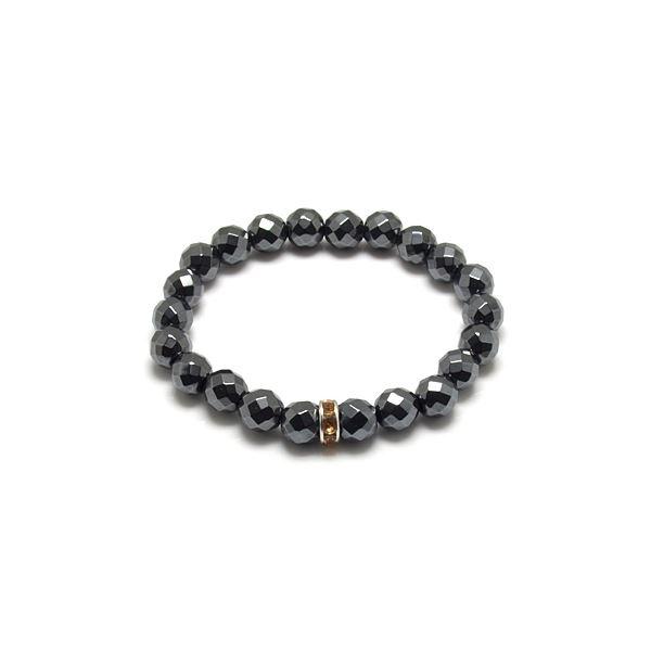カットヘマタイト×イエローキュービックジルコニア・数珠ブレスレット ZZBJ-0025cheycz