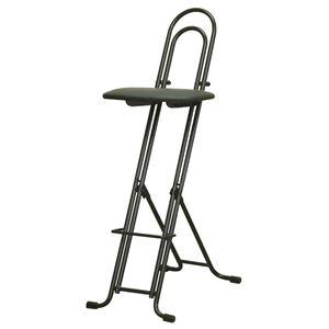 シンプル 折りたたみ椅子 【ブラック×ブラック 幅330mm】 日本製 スチールパイプ LP-800  - 拡大画像