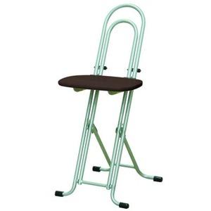 シンプル 折りたたみ椅子 【ダークブラウン×シルバー 幅330mm】 日本製 スチールパイプ  - 拡大画像