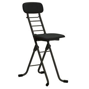 折りたたみ椅子 【4脚セット ブラック×ブラック】 幅35cm 日本製 高さ6段調節 スチールパイプ 『カラーリリィチェア』 - 拡大画像