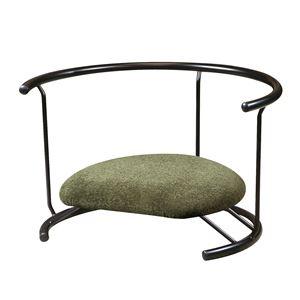あぐら椅子/正座椅子 【背もたれ付き モスグリーン×ブラック】 幅60cm 耐荷重80kg 日本製 スチール 『座ユー』 〔リビング〕