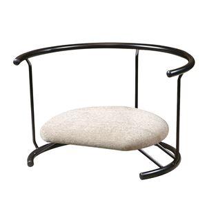 あぐら椅子/正座椅子 【背もたれ付き モスホワイト×ブラック】 幅60cm 耐荷重80kg 日本製 スチール 『座ユー』 〔リビング〕