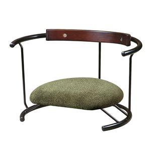 あぐら椅子/正座椅子 【スウィング背もたれ付き モスグリーン×ブラック】 幅60cm 耐荷重80kg 日本製 スチール 『座ユー』
