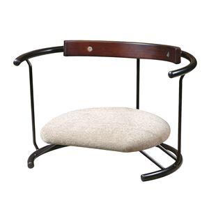 あぐら椅子/正座椅子 【スウィング背もたれ付き モスホワイト×ブラック】 幅60cm 耐荷重80kg 日本製 スチール 『座ユー』