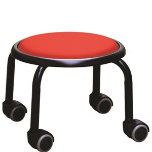 スタッキングチェア/丸椅子 【同色4脚セット レッド×ブラック】 幅32cm 日本製 スチール  - 拡大画像