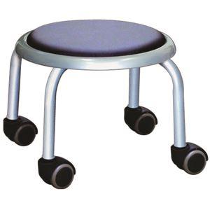 スタッキングチェア/丸椅子 【同色4脚セット ブラック×シルバー】 幅32cm 日本製 スチール  - 拡大画像