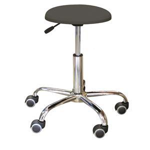 キャスター付き 丸椅子 【ブラック×クロームメッキ】 幅50cm 日本製 スチール 『ブランチクッションスツール』 - 拡大画像