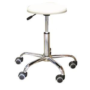 キャスター付き 丸椅子 【ホワイト×クロームメッキ】 幅50cm 日本製 スチール 『ブランチクッションスツール』 - 拡大画像
