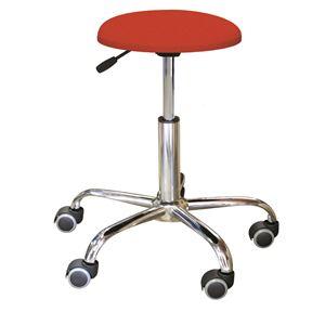 キャスター付き 丸椅子 【レッド×クロームメッキ】 幅50cm 日本製 スチール 『ブランチクッションスツール』 - 拡大画像