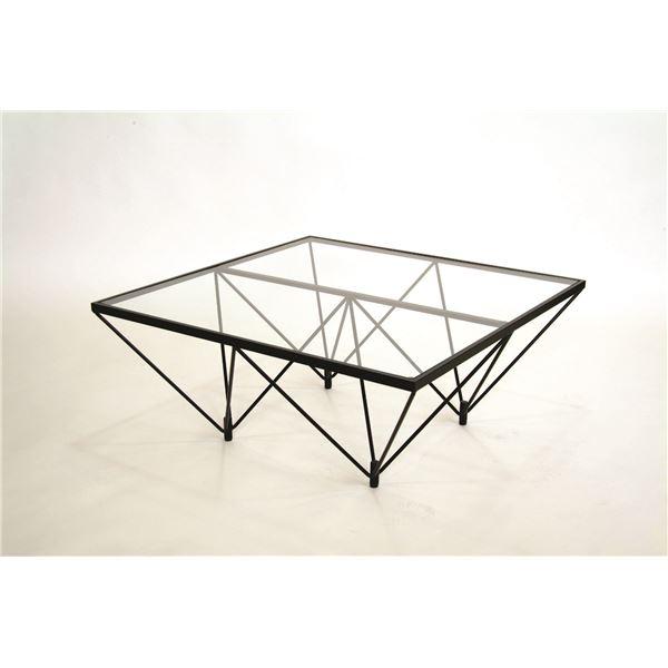 モダン ガラステーブル 【クリアガラス×ブラック】 幅80cm 日本製 5mm厚強化ガラス製天板付き 耐荷重30kg 耐衝撃 耐熱仕様