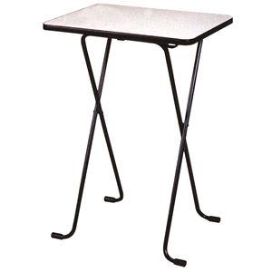 シンプル 折りたたみテーブル 【ハイタイプ 幅60cm】 ニューグレー×ブラック 日本製 メラミン天板付き 〔リビング ダイニング〕