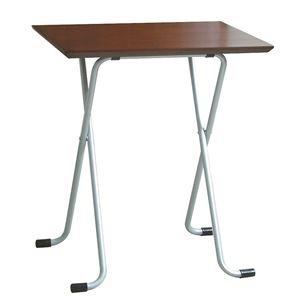 折りたたみテーブル 【角型 ダークブラウン×シルバー】 幅60cm 日本製 木製 スチールパイプ 〔ダイニング リビング〕