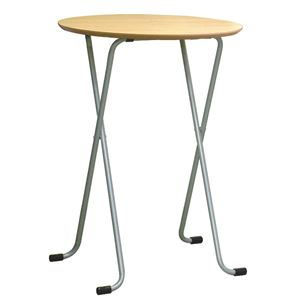 折りたたみハイテーブル 【丸型 ナチュラル×シルバー】 幅60cm 日本製 木製 スチールパイプ 〔ダイニング リビング〕
