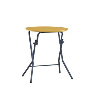 折りたたみテーブル 【幅63.5cm 円形 ナチュラル×ブラック】 日本製 木製 スチールパイプ 『スタンドタッチテーブル60』