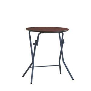 折りたたみテーブル 【幅63.5cm 円形 ダークブラウン×ブラック】 日本製 木製 スチールパイプ 『スタンドタッチテーブル60』
