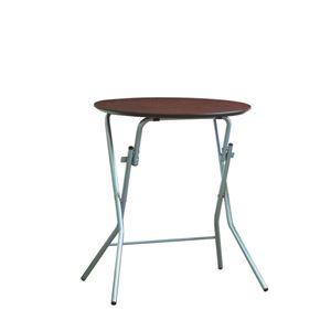 折りたたみテーブル 【幅63.5cm 円形 ダークブラウン×シルバー】 日本製 木製 スチールパイプ 『スタンドタッチテーブル60』