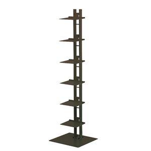 タワーシェルフ/収納棚 【ブラック】 幅35cm×奥行33cm×高さ130cm 日本製 スチール製 棚板6枚付き 『シャトー』