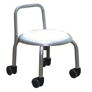 スタッキングチェア/丸椅子 【1脚販売 ホワイト×シルバー】 幅32cm 日本製  - 拡大画像