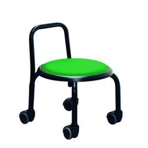 スタッキングチェア/丸椅子 【1脚販売 グリーン×ブラック】 幅32cm スチールパイプ  - 拡大画像