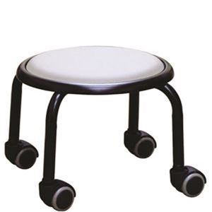 スタッキングチェア/丸椅子 【1脚販売 ホワイト×ブラック】 幅32cm 日本製 スチール  - 拡大画像