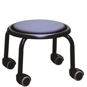 スタッキングチェア/丸椅子 【1脚販売 ブラック×ブラック】 幅32cm 日本製 スチール  - 拡大画像