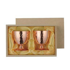 冷酒カップ 足つき セット 2重構造 高台 2重 冷酒カップ 2PCSセット 木箱入 贈答品 ギフト プレゼント ペアカップ【ASH-4705】