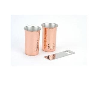 銅 ビールグラス ビールカップ セット 純銅 槌目 一口ビール・栓抜き 3PCSセット 来客用【ASH-0042】