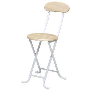 折りたたみ椅子 【単品 ナチュラル 】 約幅35cm スチール 座面ロック機能 ヴィンテージチェア 完成品 〔リビング〕 - 拡大画像
