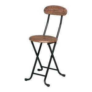 折りたたみ椅子 【単品 ブラウン 】 約幅35cm スチール 座面ロック機能 ヴィンテージチェア 完成品 〔リビング〕 - 拡大画像