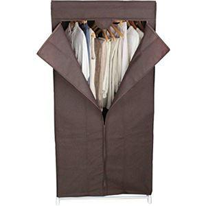 カバー付き ハンガーラック/衣類収納 【約幅75cm ブラウン】 不織布 スチールパイプ スーツラック 〔ベッドルーム〕 - 拡大画像