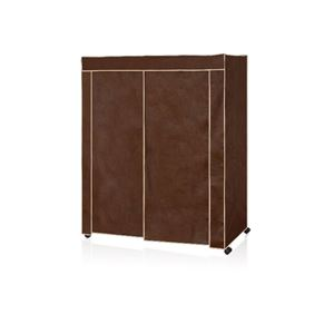 カバー付き ハンガーラック/衣類収納 【幅約151.5cm ブラウン】 不織布 組立品 スチールハンガー 〔ベッドルーム〕 - 拡大画像