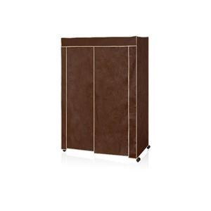 カバー付き ハンガーラック/衣類収納 【幅約121cm ブラウン】 不織布 組立品 スチールハンガー 〔ベッドルーム〕 - 拡大画像