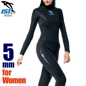 ウェットスーツ レディース 5mm フルスーツ ダイビング ジャンプスーツ 女性用保温 ISTPROLINE WS805/W BK(ブラック) サイズ:5 - 拡大画像