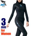 ウェットスーツ レディース 3mm フルスーツ ダイビング ジャンプスーツ 女性用 保温 ISTPROLINE WS80/W BK(ブラック) サイズ:11