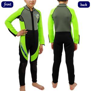 キッズ ウェットスーツ 長袖 3mm フルスーツ 子供用 ジャンプスーツ 海水浴 保温 ISTPROLINE WSK-80 NY(イエロー) XL - 拡大画像