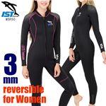ウェットスーツ レディース フルスーツ 3mm ダイビング ジャンプスーツ 女性用 保温 ISTPROLINE WSR50 BK/P(ブラックピンク) サイズ:11