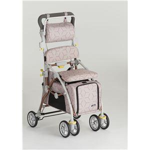 【フランスベッド】 ペットカート/シルバーカー 【あずき】 ブレーキ 杖ホルダー付き 『ラクティブペット』 - 拡大画像