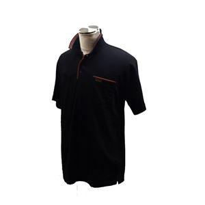 VINCENZO VALENTINO 半袖デザインポロ ブラック Lサイズ - 拡大画像