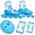 ジュニア用 インラインスケート 4点セット 【S ライトブルー 18〜20cm】 幅35cm ゴム&マジックテープ式 簡単サイズ調整