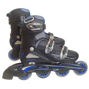 一般用インラインローラースケート ブルー 24〜27cm(4段階 サイズ調整可能) - 拡大画像