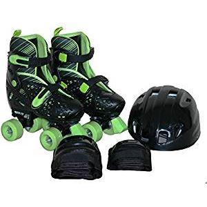ローラースケート/クワッドローラー 【L ブラック 21〜23cm】 ヘルメット エルボーパッド ニーパッド付き 〔スポーツ用品〕 - 拡大画像