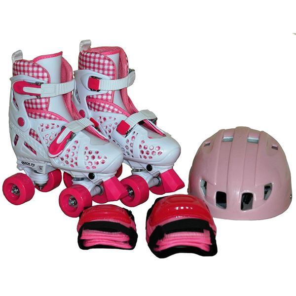 ローラースケート/クワッドローラー 【S ピンク 18〜20cm】 ヘルメット エルボーパッド ニーパッド付き 〔スポーツ用品〕