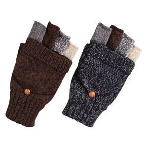 (まとめ)ミトンにもなる ニット手袋 メンズ ブラウン&グレー 2色アソート 【×10双セット】 3111 - 拡大画像