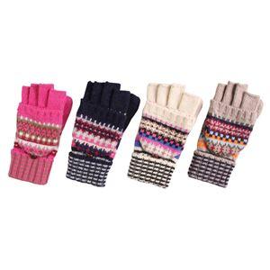 ミトンにもなる ニット手袋 【レディース 4色アソート 3121】 10組セット ピンク&ネイビー&ホワイト&ベージュ 約18×8×2cm - 拡大画像